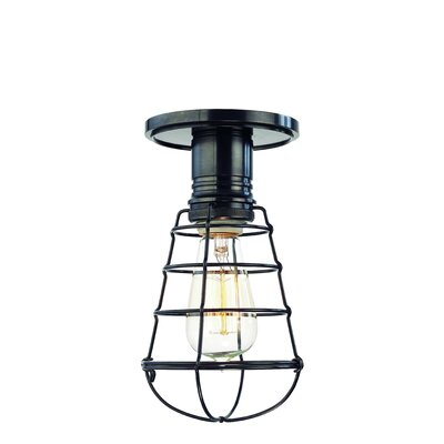 Diogo 1-Light Metal Semi-Flush Mount Shade Type: GS4, Finish: Polished Nickel