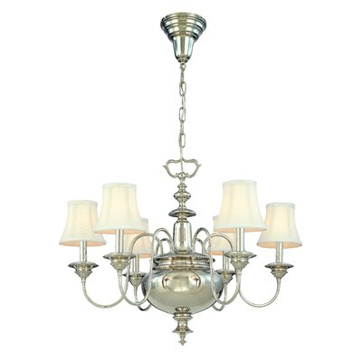 Ellington 6-Light Shaded Chandelier Finish: Polished Nickel