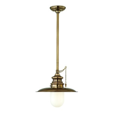 Kendall 1-Light Pendant Finish: Historic Nickel, Size: 15.75