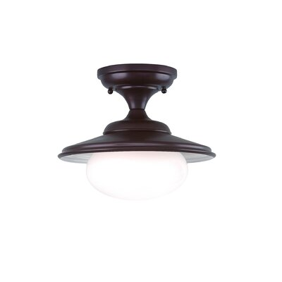 Casarez 11 1-Light Semi Flush Mount Finish: Old Bronze, Size: 12.5H x 19 Dia.