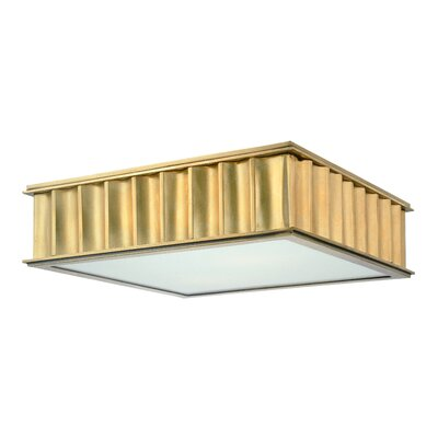 Middlebury 2-Light Square Flush Mount Finish: Aged Brass, Size: 4H x 16W x 16L