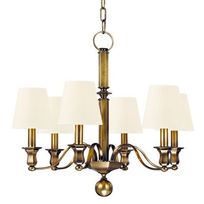 Elbert 6-Light Shaded Chandelier Finish: Aged Brass
