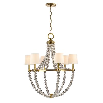 Lainey 6-Light Shaded Chandelier Finish: Aged Brass, Shade Color: Cream