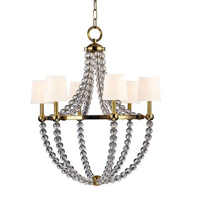 Lainey 6-Light Shaded Chandelier Finish: Aged Brass, Shade Color: White