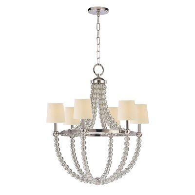Lainey 6-Light Shaded Chandelier Shade Color: Cream, Finish: Polished Nickel