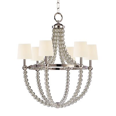 Lainey 6-Light Shaded Chandelier Shade Color: White, Finish: Polished Nickel