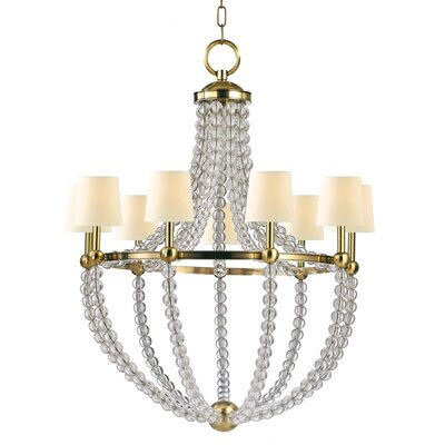 Danville 9-Light Shaded Chandelier Finish: Aged Brass, Shade Color: Cream