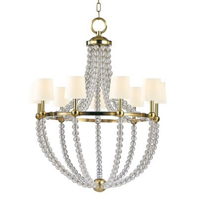 Lainey 9-Light Shaded Chandelier Finish: Aged Brass, Shade Color: White
