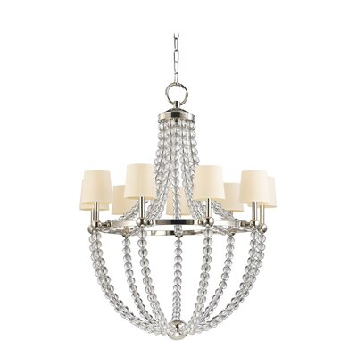 Lainey 9-Light Shaded Chandelier Shade Color: Cream, Finish: Polished Nickel