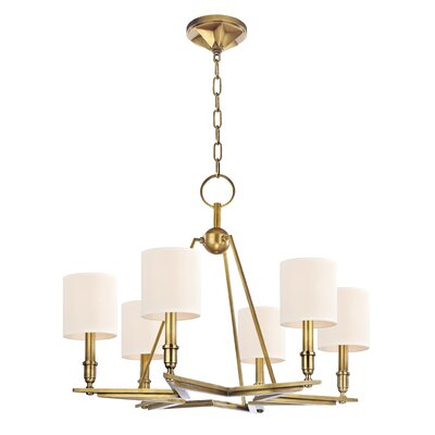 Merseles 6-Light Shaded Chandelier Finish: Aged Brass, Shade Color: Cream