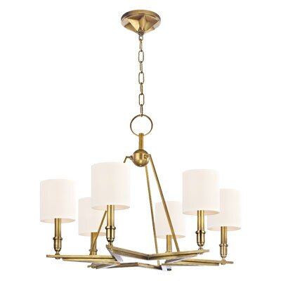 Merseles 6-Light Shaded Chandelier Finish: Aged Brass, Shade Color: White