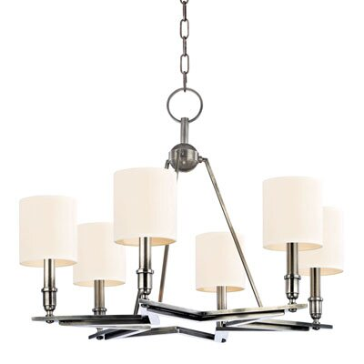 Merseles 6-Light Shaded Chandelier Finish: Aged Silver, Shade Color: White