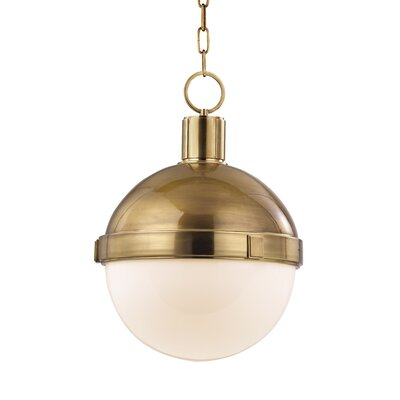 Kenny 1-Light Pendant Size: Medium, Finish: Aged Brass