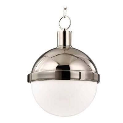 Kenny 1-Light Pendant Finish: Polished Nickel, Size: Large