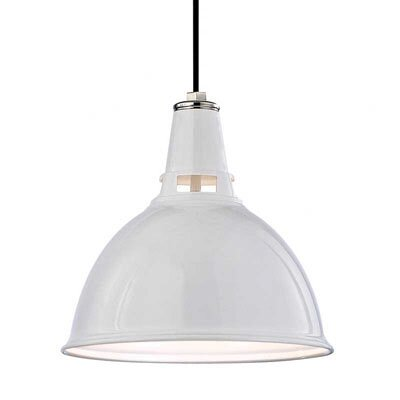 Dinis 1-Light Inverted Pendant Size: Medium, Finish: White Polished Nickel