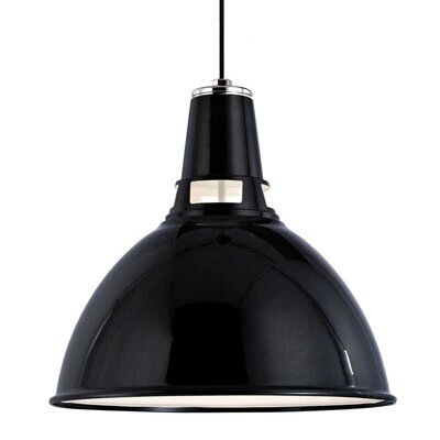 Dinis 1-Light Inverted Pendant Finish: Black Polished Nickel, Size: Large