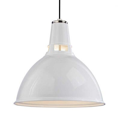 Dinis 1-Light Inverted Pendant Size: Large, Finish: White Polished Nickel