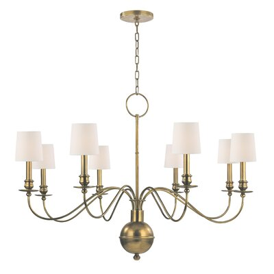 Erby 8-Light Shaded Chandelier Finish: Aged Brass, Shade Color: Cream