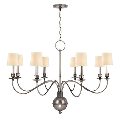 Erby 8-Light Shaded Chandelier Finish: Aged Silver, Shade Color: Cream