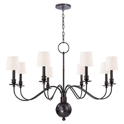 Erby 8-Light Shaded Chandelier Finish: Old Bronze, Shade Color: White