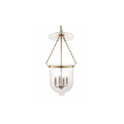 Williamsburg Hampton 4-Light Foyer Pendant Finish/Glass: Aged Brass/C1