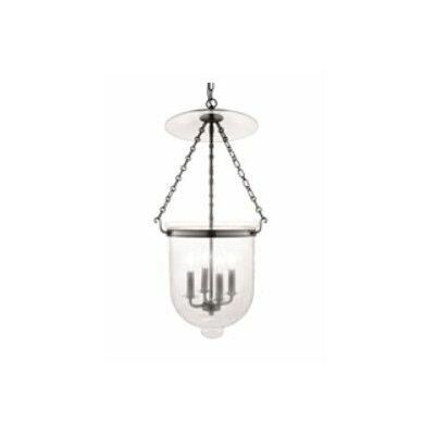 Williamsburg Hampton 4-Light Foyer Pendant Finish/Glass: Historic Nickel/C1