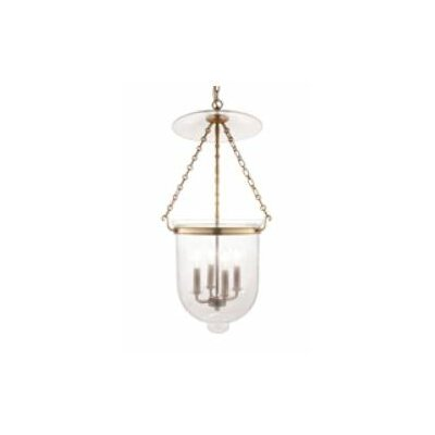 Williamsburg Hampton 4-Light Foyer Pendant Finish/Glass: Polished Nickel/C1