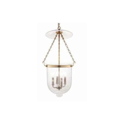 Williamsburg Hampton 4-Light Foyer Pendant Finish/Glass: Polished Nickel/C3