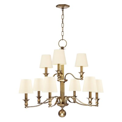 Elbert 9-Light Shaded Chandelier Finish: Aged Brass