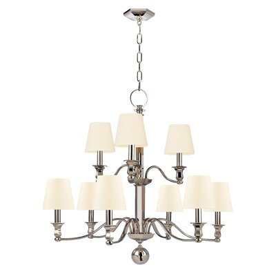Elbert 9-Light Shaded Chandelier Finish: Polished Nickel