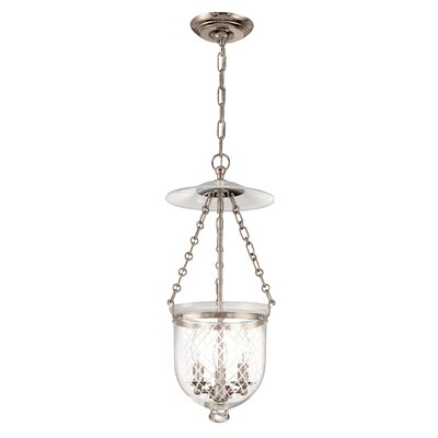 Hampton 3-Light Pendant Glass Pattern: Diamond, Finish: Historic Nickel