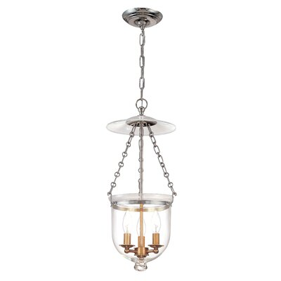 Hampton 3-Light Pendant Finish: Polished Nickel, Glass Pattern: Plain