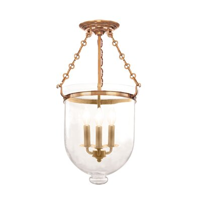 Hampton 3-Light Semi-Flush Mount Finish: Aged Brass, Glass Pattern: Plain