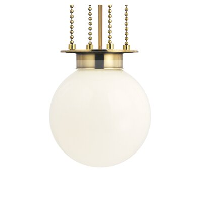 Blaine 1-Light Pendant Finish: Aged Brass, Shade Color: Opal