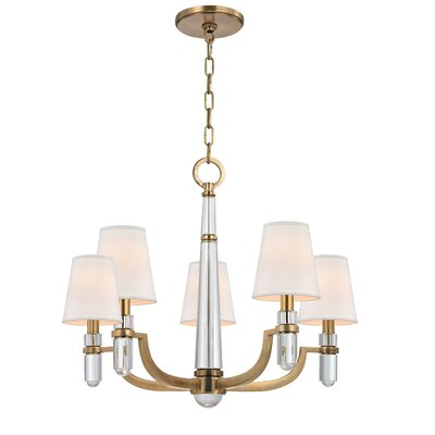 Abels 5-Light Shaded Chandelier Shade Color: White, Finish: Polished Nickel