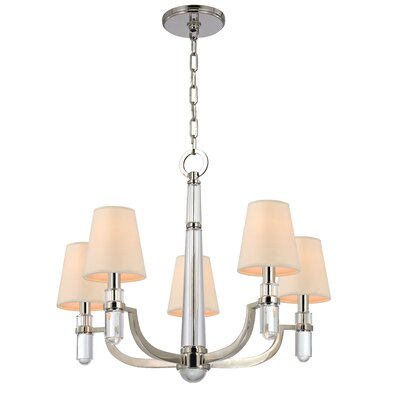 Abels 5-Light Shaded Chandelier Finish: Polished Nickel, Shade Color: Cream