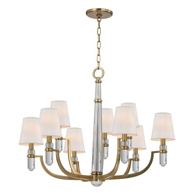Abels 9-Light Shaded Chandelier Finish: Aged Brass, Shade Color: Cream