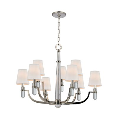 Abels 9-Light Shaded Chandelier Shade Color: Cream, Finish: Polished Nickel