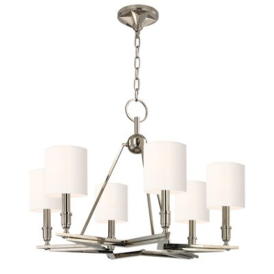 Merseles 6-Light Brass Shaded Chandelier Shade Color: White