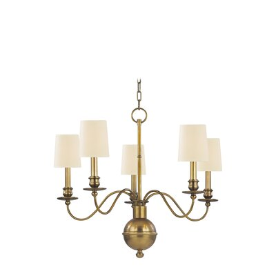 Cohasset 5-Light Shaded Chandelier Finish: Aged Brass, Shade Color: White