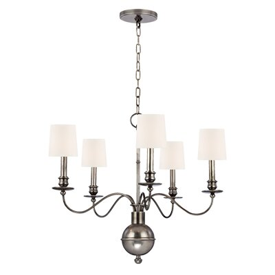 Erby 5-Light Shaded Chandelier Shade Color: White, Finish: Aged Silver