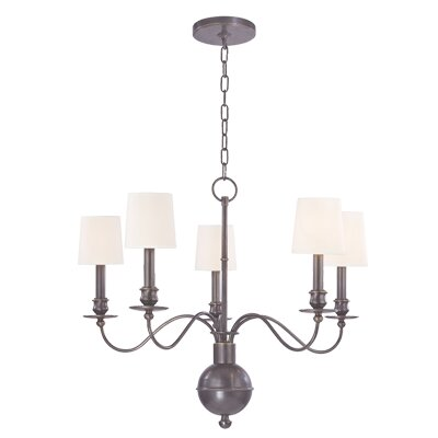 Erby 5-Light Shaded Chandelier Shade Color: White, Finish: Old Bronze