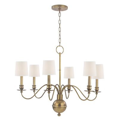 Erby 6-Light Shaded Chandelier Finish: Aged Brass, Shade Color: White