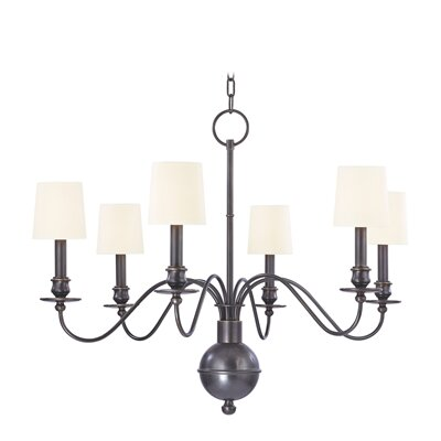 Erby 6-Light Shaded Chandelier Finish: Old Bronze, Shade Color: White