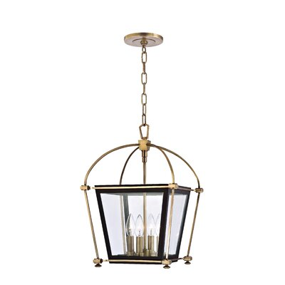 Kim 4-Light Metal Foyer Pendant Finish: Aged Brass