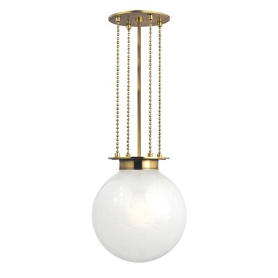 Blaine 1-Light Globe Pendant Finish: Aged Brass, Shade Color: Opal
