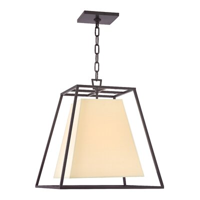 Casner 1-Light Foyer Pendant Shade Color: Cream, Finish: Old Bronze