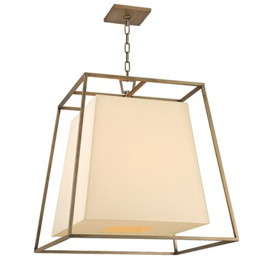 Casner 4-Light Foyer Pendant Finish: Aged Brass, Shade Color: Cream