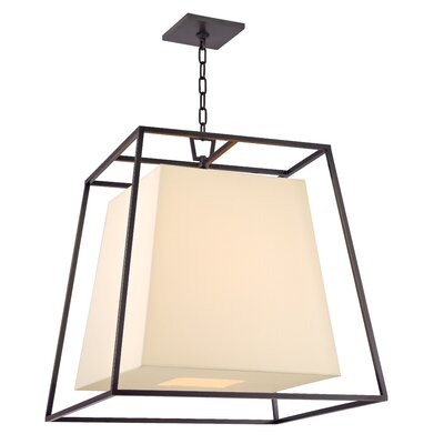 Casner 4-Light Foyer Pendant Shade Color: Cream, Finish: Old Bronze