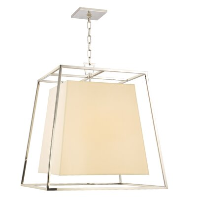 Casner 4-Light Foyer Pendant Shade Color: Cream, Finish: Polished Nickel